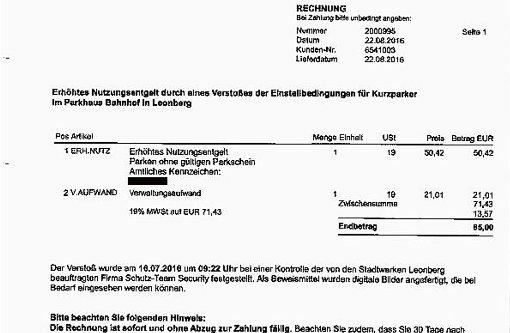 Parkschein vergessen: 85 Euro Strafgebühr