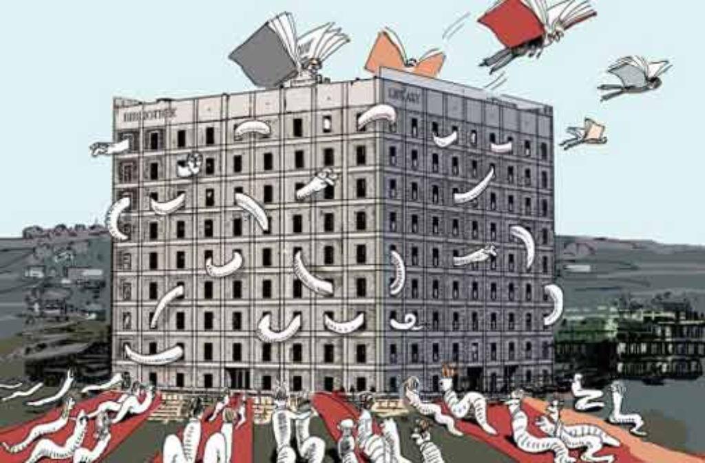 Ein Bau zum Artenschutz der Bücherwürmer: am Montag beginnt in der Bibliothek der reguläre Betrieb. Foto: Zeichnung: Friederike Groß