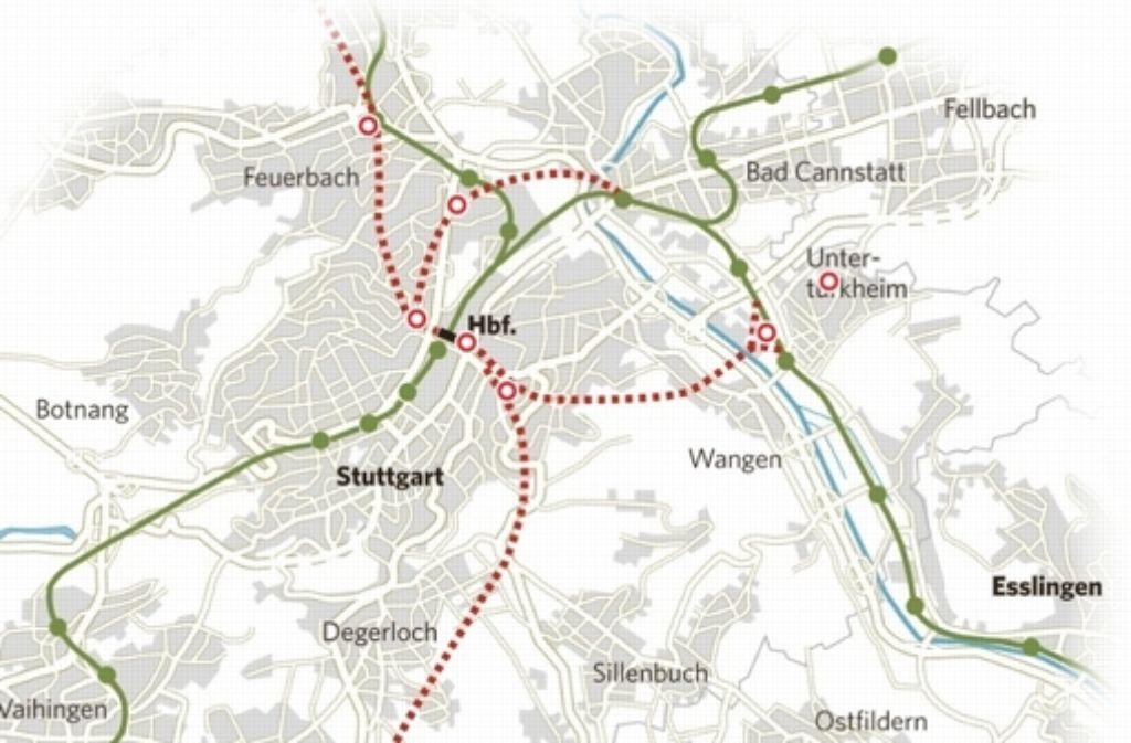 Die Baustellen für Stuttgart 21 verteilen sich über die gesamte Stadt Stuttgart. Foto: StZ-Grafik