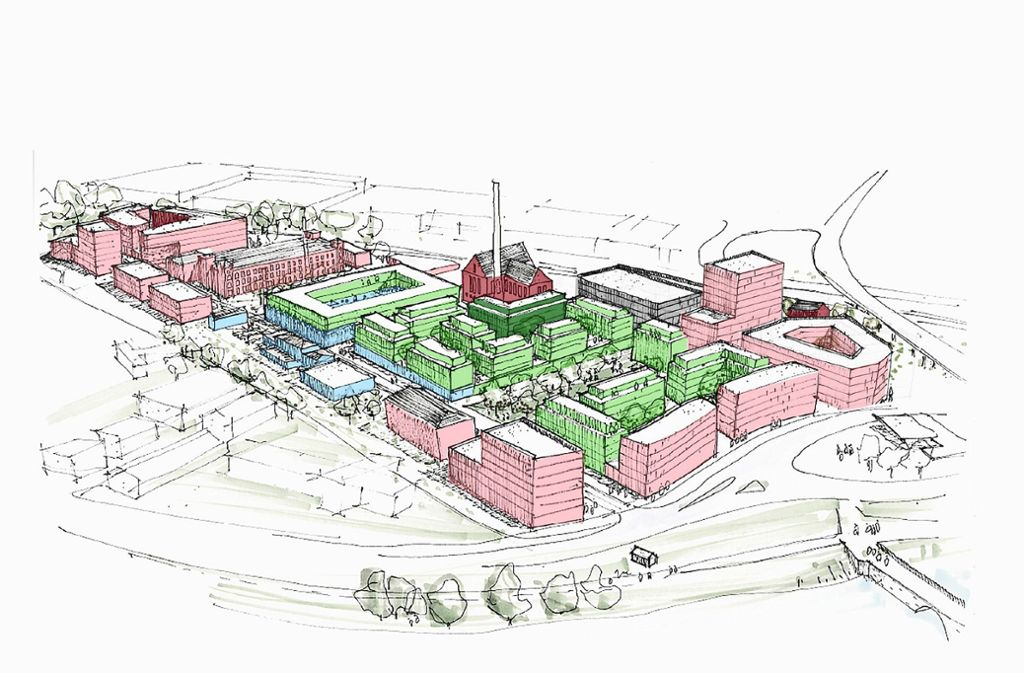 Das  künftige Otto-Quartier mit der Wohnbebauung (grün) und den Gewerbeflächen (rosa). Die Gebäude aus der Gründerzeit bleiben stehen. Besonders markant ist das ehemalige Kessel- und Turbinenhaus (altrosa) Foto: CG Gruppe