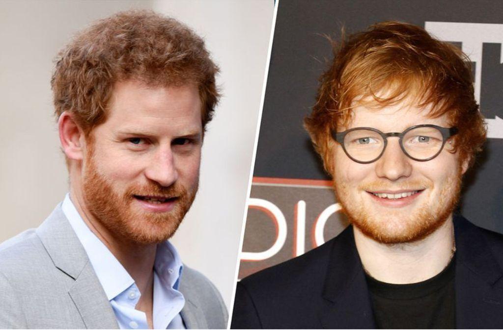 Prinz Harry (l.) und der Sänger Ed Sheeran (r.) haben sich am Donnerstag getroffen. Ob die beiden womöglich gemeinsam an einem Projekt arbeiten? Foto: glomex