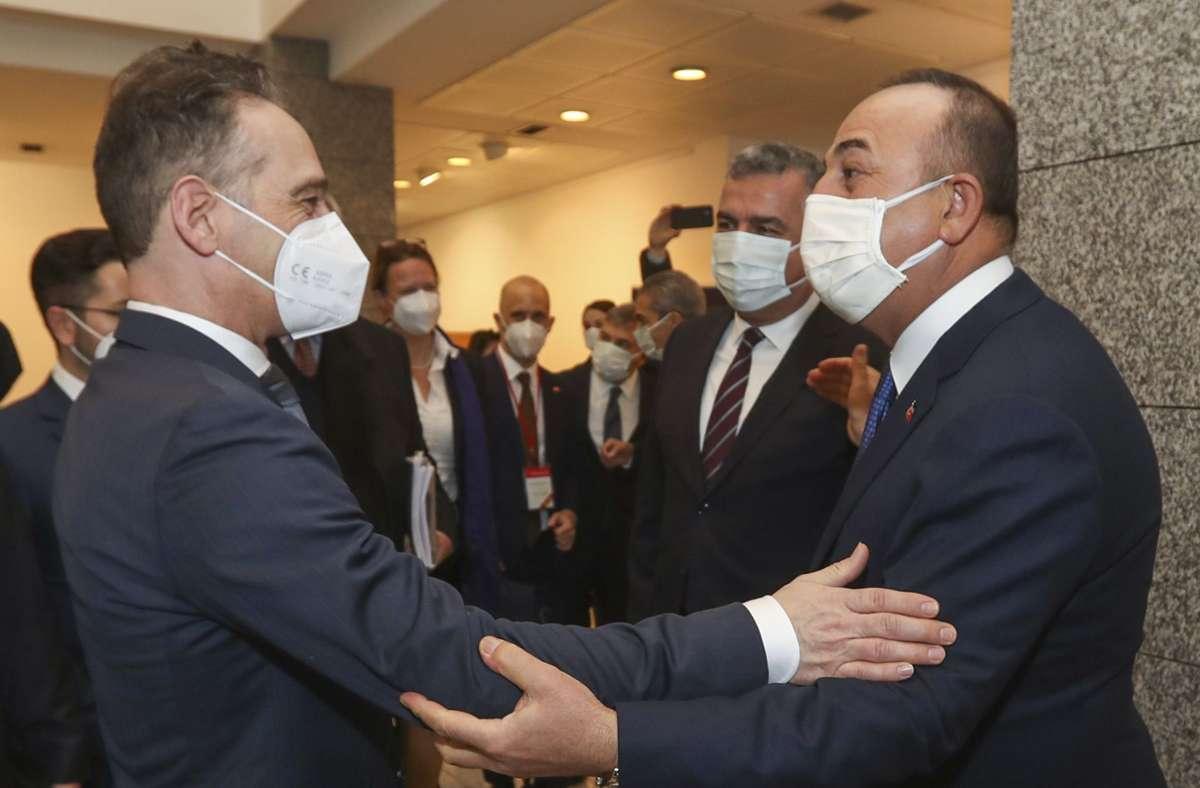 Der deutsche Außenminister Heiko Maas beim Treffen mit seinem türkischen Amtskollegen Mevlüt Cavusoglu. Foto: dpa/Uncredited