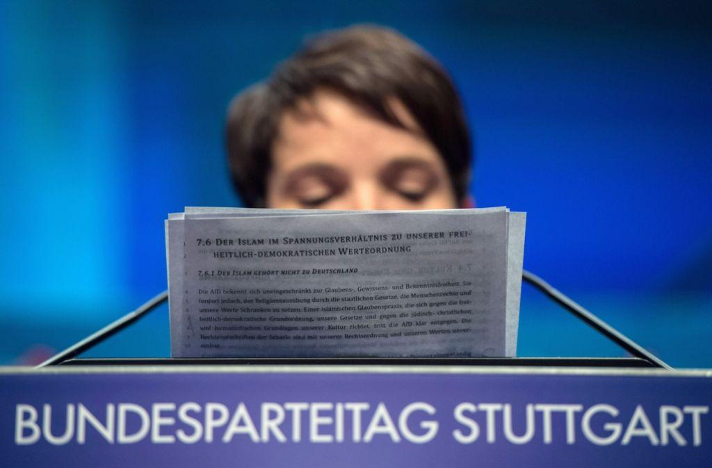 Die AfD hegt Widerstände gegen die Einwanderung, was auf dem Parteitag in Stuttgart sehr deutlich wurde. Diese Einstellung hat allerdings nichts mit dem relativ hohen Einkommen der Mitglieder zu tun. Foto: dpa