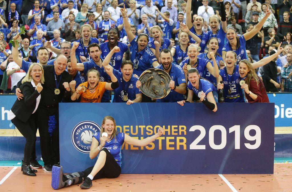 Das Meisterteam hat sich verändert – acht Abgänge und neun Neuzugänge gibt es für die kommende Saison bei Allianz MTV Stuttgart. Foto: Baumann