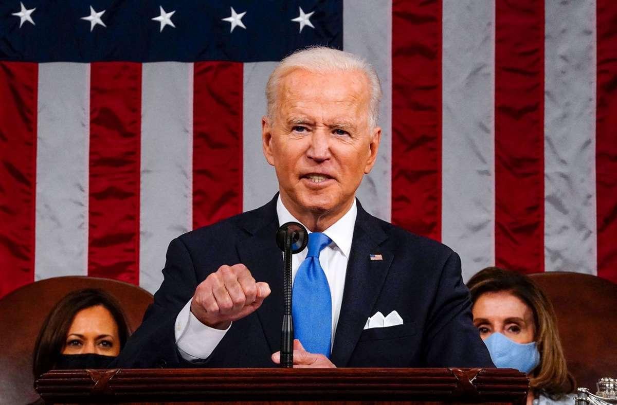Ist zufrieden mit seiner Regierung: US-Präsident Joe Biden Foto: AFP/MELINA MARA