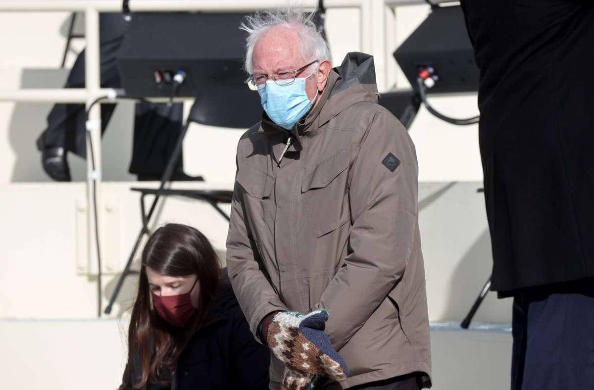 Bernie Sanders sorgte mit seinem Outfit für einen Internet-Hype. Foto: imago images/ZUMA Wire
