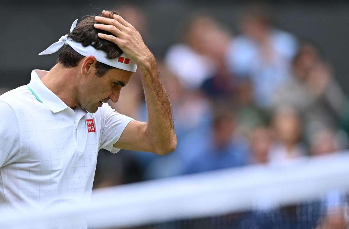 Roger Federer schied im Viertelfinale von Wimbledon aus. Foto: AFP/GLYN KIRK