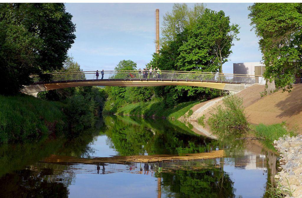 """Zukunftsweisend: die """"Stuttgarter Holzbrücke"""" im Remstal. Foto: Peter Cheret"""