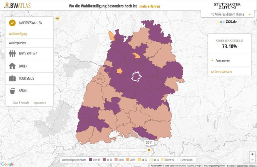 Die Region Stuttgart ist eine Insel - aber eine von vielen: Der BW Atlas der Stuttgarter Zeitung zeigt es. Foto: StZ / Screenshot