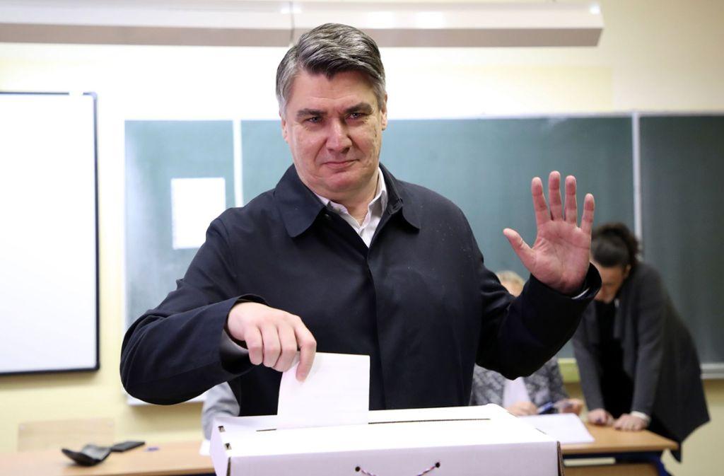 Der linksgerichtete frühere Ministerpräsident Zoran Milanovic kam in der ersten Runde auf nahezu 30 Prozent. Foto: AFP/Damir Sencar