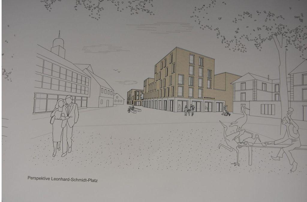 So  sollen  die Neubauten am Storchenbrunnen aussehen. . Foto: Harris und Kurrle