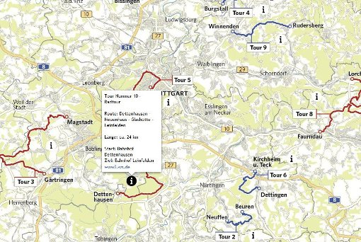 Interaktive Karte für Touren rund um Stuttgart