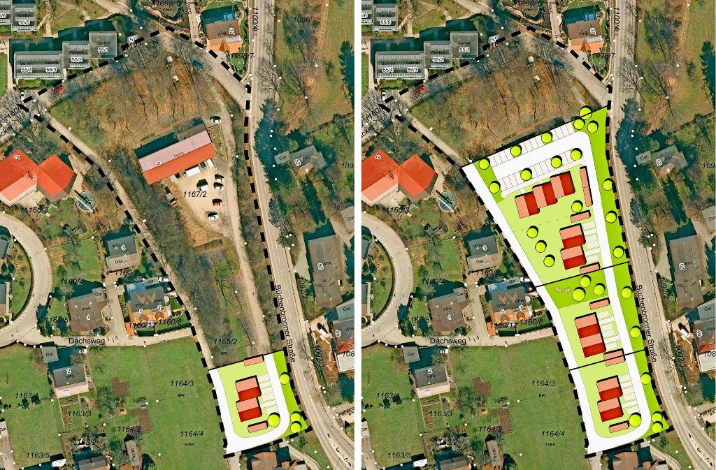 In drei Abschnitten soll das Grundstück am Dachsweg in Ebersbach bebaut werden (rechts). Das erste Doppelhaus (links) soll im Frühjahr 2019 fertig werden. Das Kleintierzüchterheim am oberen Bildrand genießt Bestandsschutz. Foto: Stadt Ebersbach