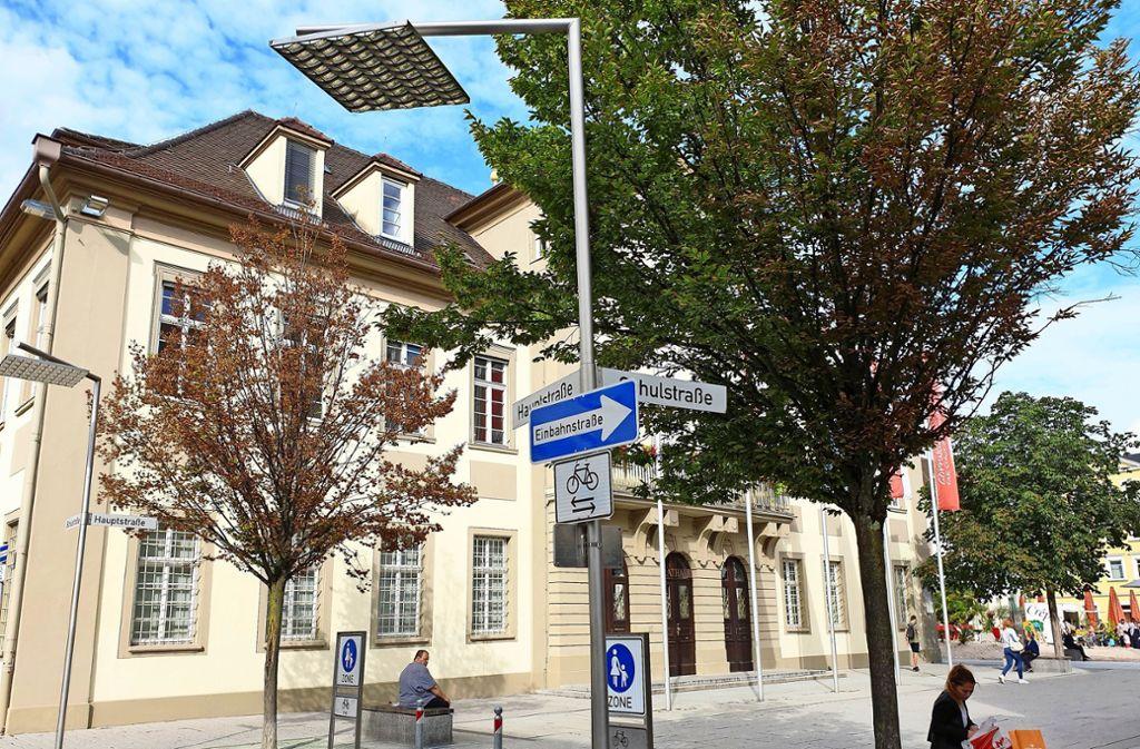 Dürre Äste und welkes Laub  statt saftig grüner Blätter – auch vor dem Rathaus  kümmert eine der Hainbuchen vor sich hin. Foto: Schnebeck