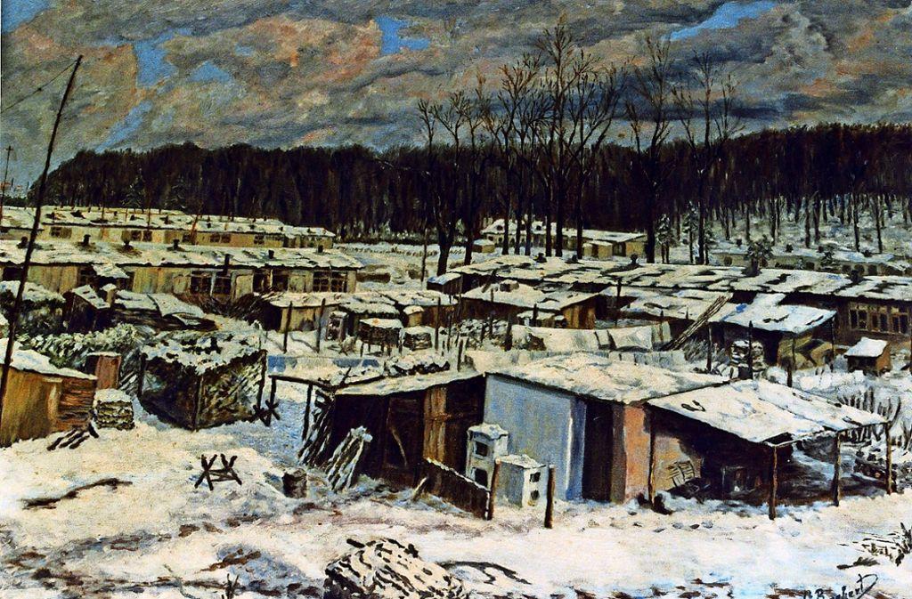 Dieses Gemälde zeigt, wie trist das Barackenlager auf der Schlotwiese ausgesehen haben mag. Foto: privat