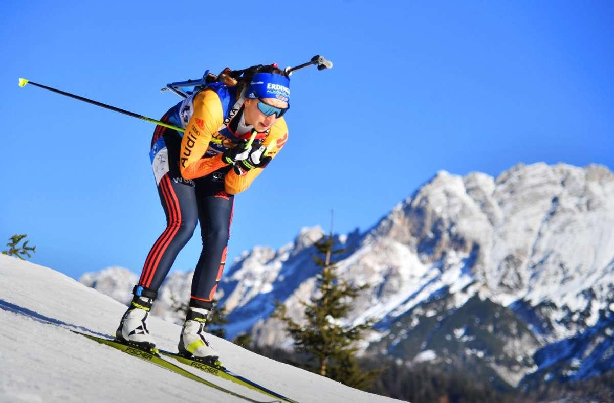 Franziska Preuß ist derzeit die Nummer eins der deutschen Biathleten. Foto: AFP/Barbara Grindl