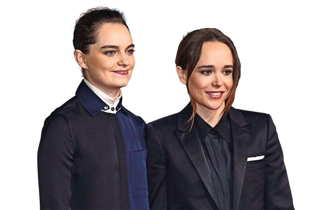 """Die Tänzerin und Choreografin Emma Portner (links) und die Schauspielerin Ellen Page bei der Weltpremiere des Films """"Flatliners"""" im September 2017 in Los Angeles. Foto: AP"""
