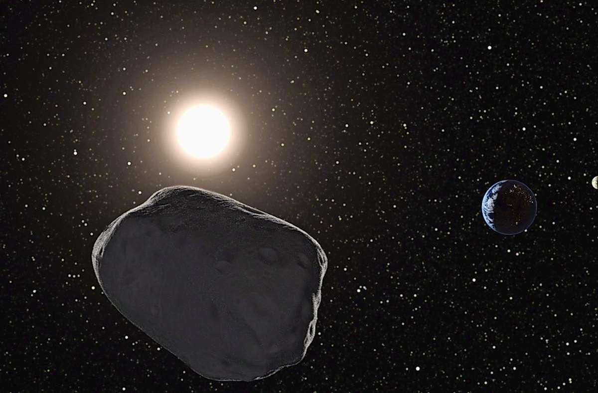 Der mehrfamilienhausgroßer Asteroid wird am Dienstag an der Erde vorbeirasen (Symbol-Ilustration/Archiv). Foto: dpa/Planetary Resources