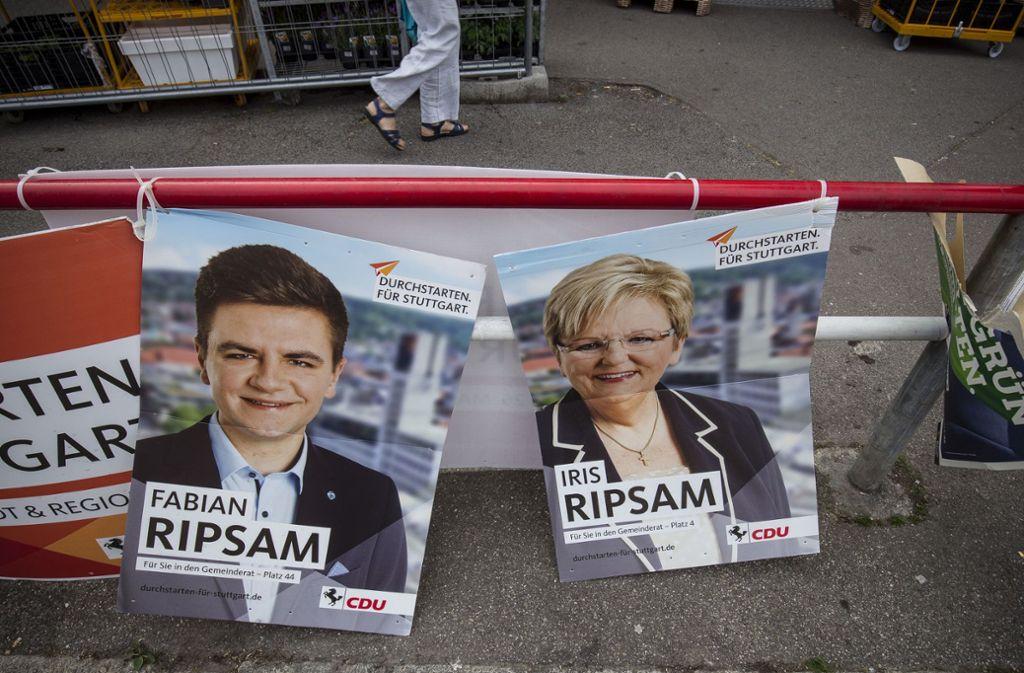 Plakate der CDU in Stuttgart – vor allem die ersten 20 Kandidaten sollen für den Wahlkampf tief in die Tasche greifen. Sieht man jedoch genauer hin, ist es bei anderen Parteien nicht anders. Foto: Lichtgut