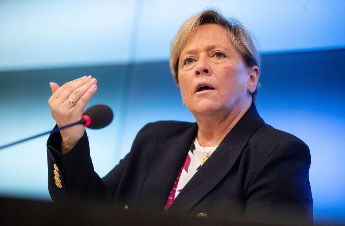 Kultusministerin Susanne Eisenmann (CDU) arbeitet am Aufbau einer digitalen Bildungsplattform für Baden-Württemberg. Foto: dpa/Christoph Schmidt