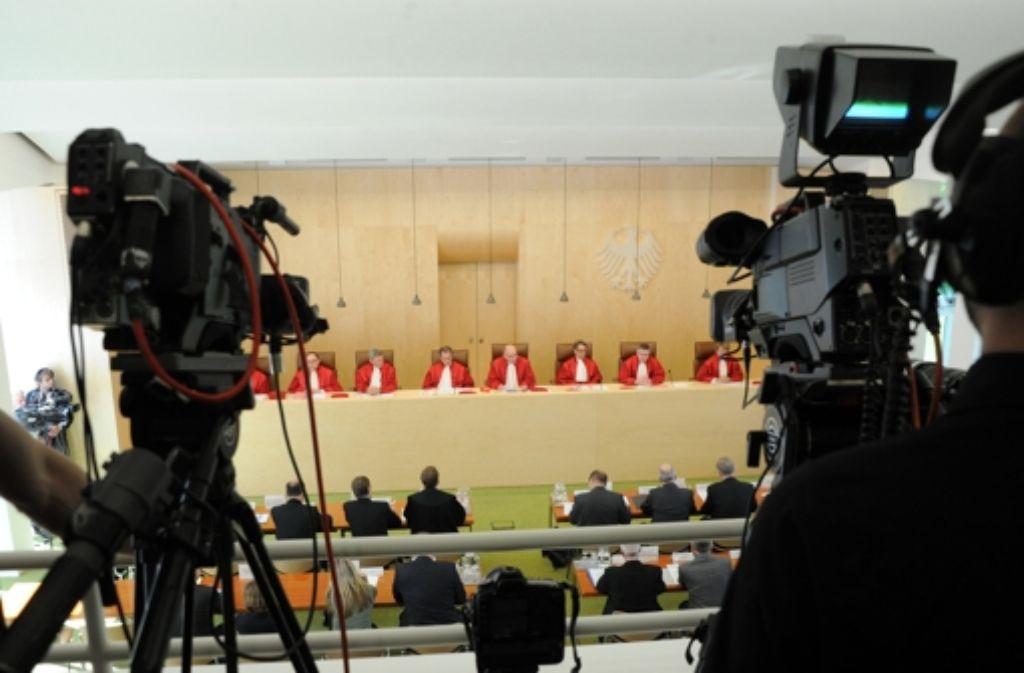 Die Richter des Bundesverfassungsgerichts bei der Urteilsverkündung Foto: dpa