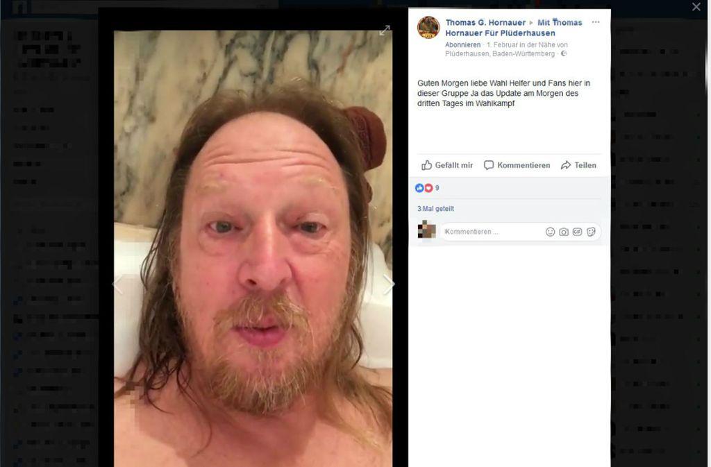 Thomas Hornauer hält über Facebook mit seinen Fans Kontakt – auch aus der Badewanne. Foto: Screenshot (Facebook)