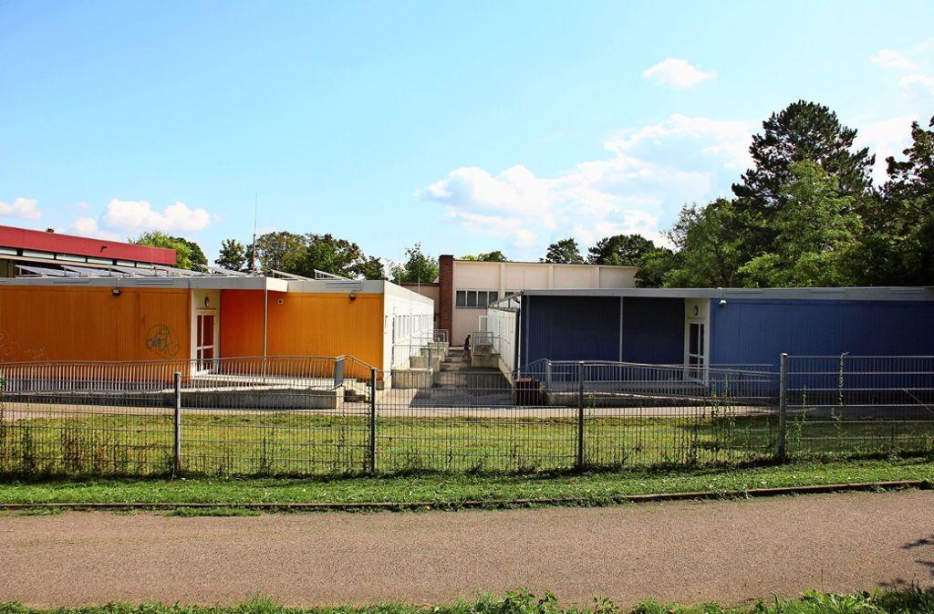 Die Rilke-Realschule in Rot wird für 16,8 Millionen Euro umgebaut und saniert. Die Verwaltung und elf Klassenzimmer sind bereits in Container eingezogen. Foto: Georg Friedel