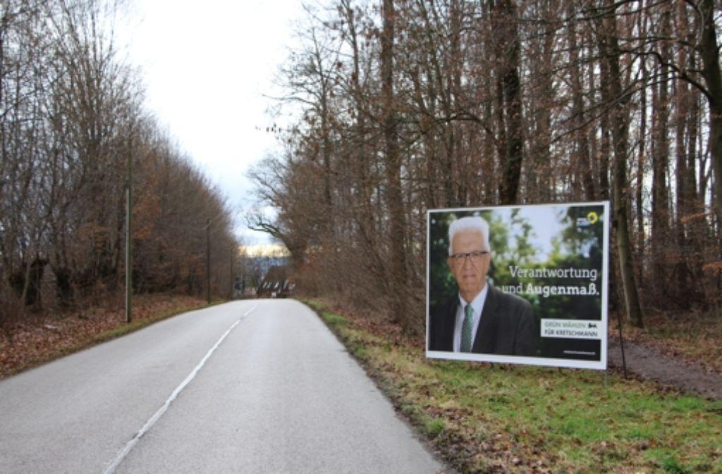 Ministerpräsident mit Wald vor Wald – das war einer Schönbergerin zu viel des Grünen im Grünen. Foto: Eveline Blohmer