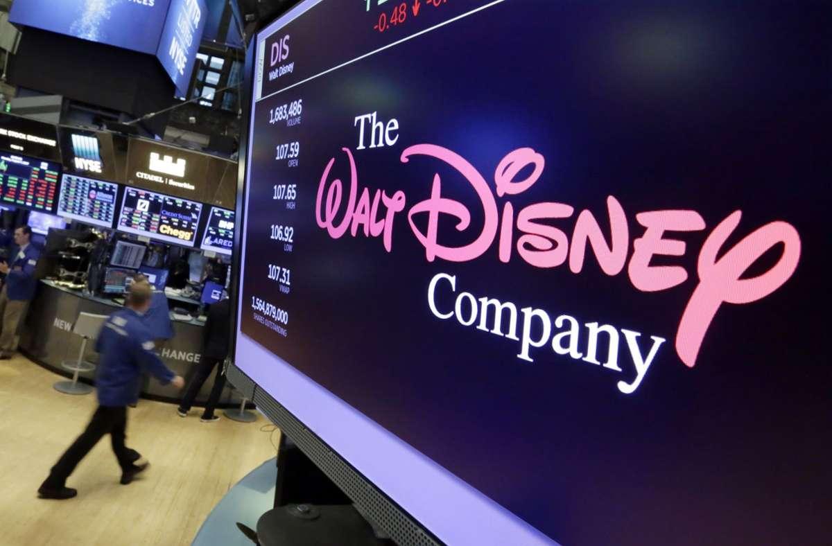Das Walt Disney Co. Logo in der New Yorker Börse. Foto: dpa/Richard Drew