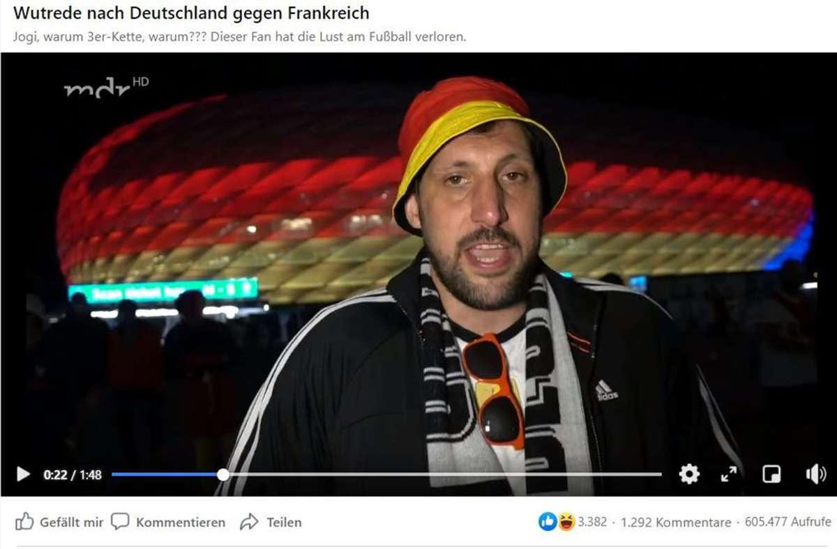 Ein Deutschland-Fan bringt seine Enttäuschung über den Auftritt der DFB-Elf zum Ausdruck – das Video dazu geht im Internet viral. Foto: Screenshot Facebook/MDR/@zeiglerswelt