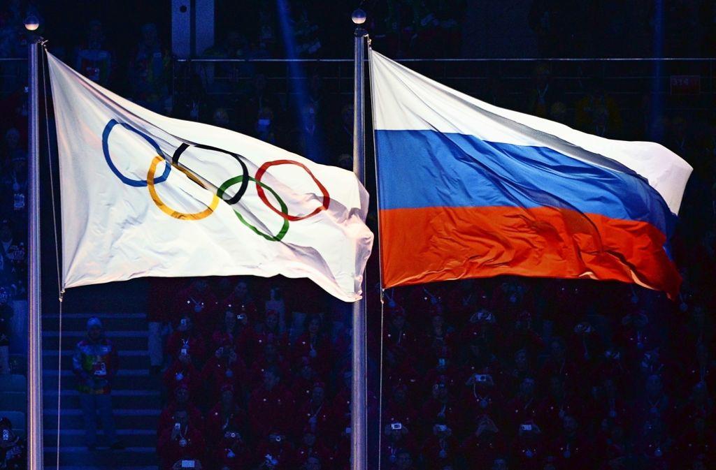 Die russische Flagge weht auch bei den Spielen von Rio. Foto: AFP