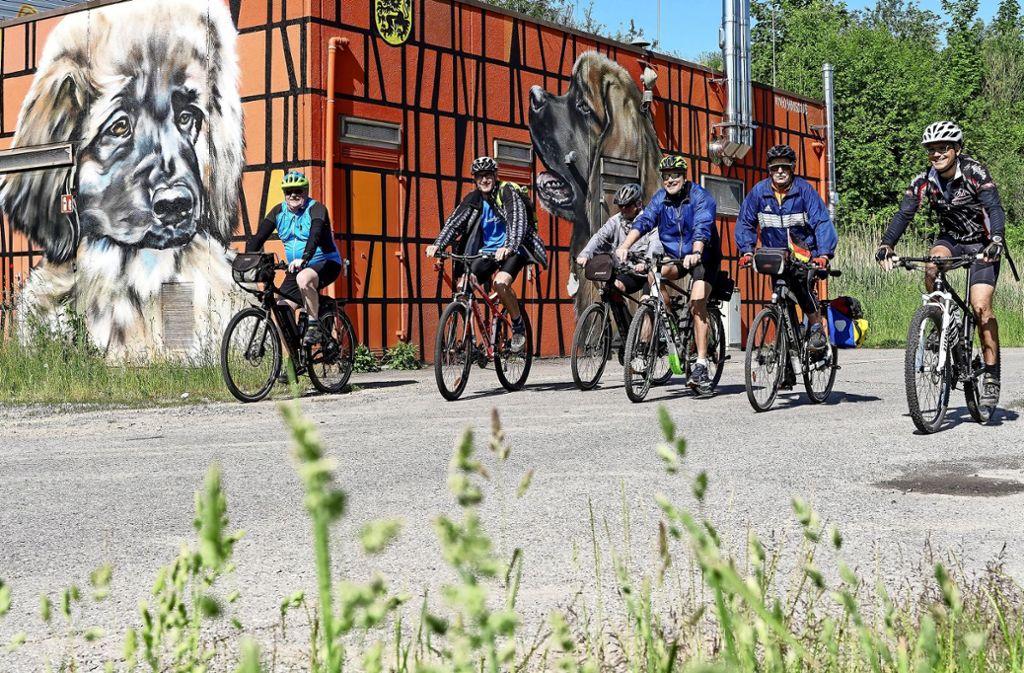Wolfgang Röckle (links) hat die Route für die  Tour de Natur am 7. Juli mit Peter Gänzle (Zweiter von rechts) geplant und bereits eine Probefahrt unternommen. Die Strecke führt auch an diesem mit Graffiti gestalteten Trafo-Häuschen vorbei. Foto: factum/