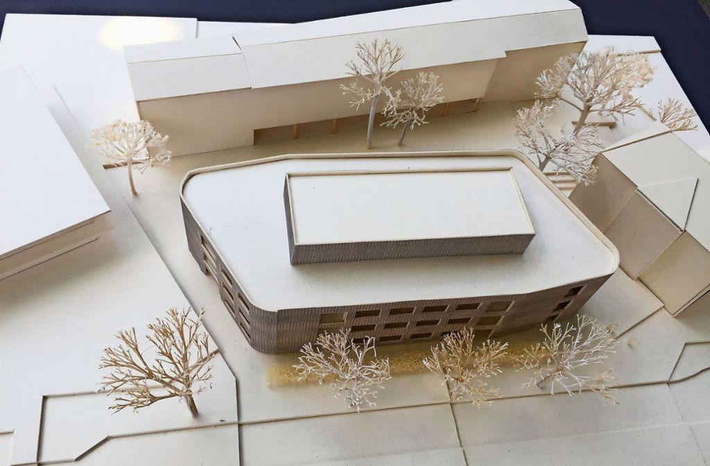 """So sieht das Modell des Schulneubaus an der Burtenbachstraße in Stammheim aus. Im kommenden Frühjahr soll mit den Bauarbeiten begonnen werden. Foto: Büro """"Ackermann+Raff"""