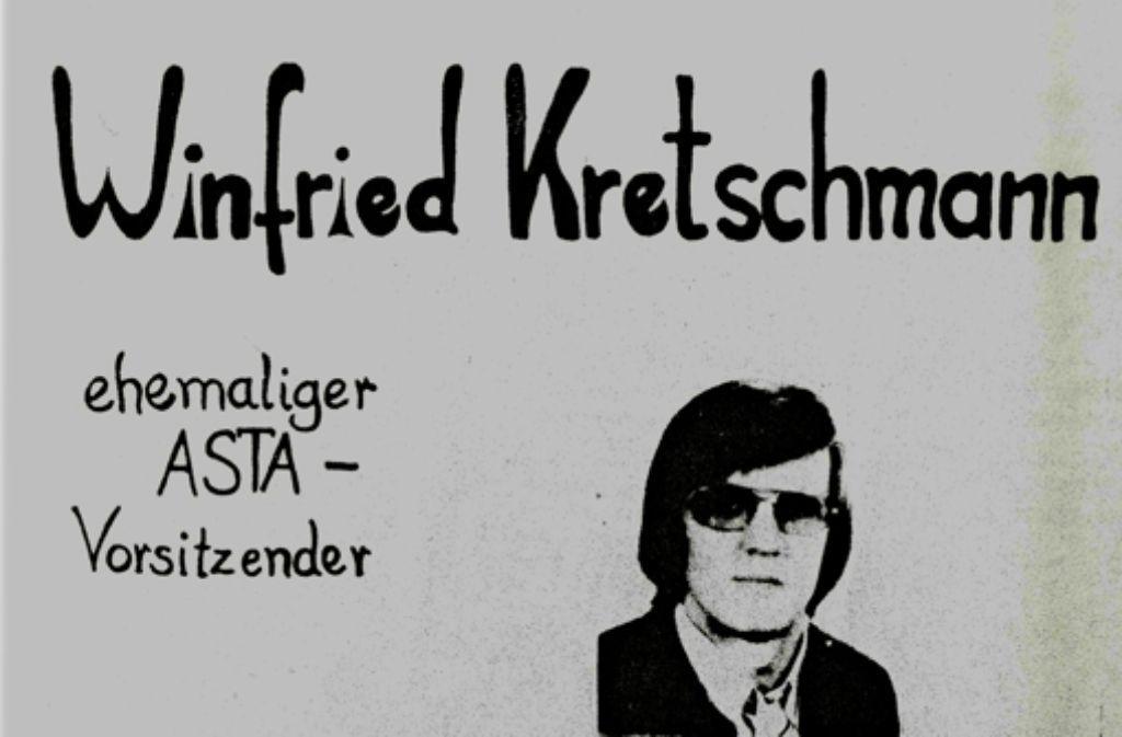 Vom Verfassungsschutz 1975 sichergestellt: Plakat von Kretschmann-Unterstützern Foto: Hauptstaatsarchiv Stuttgart