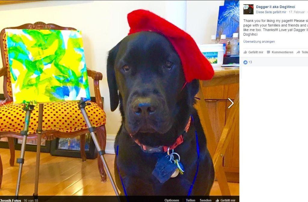 Dagger II. macht anerkannten Malern Konkurrenz. Foto: Screenshot Facebook / Dagger II aka DogVinci
