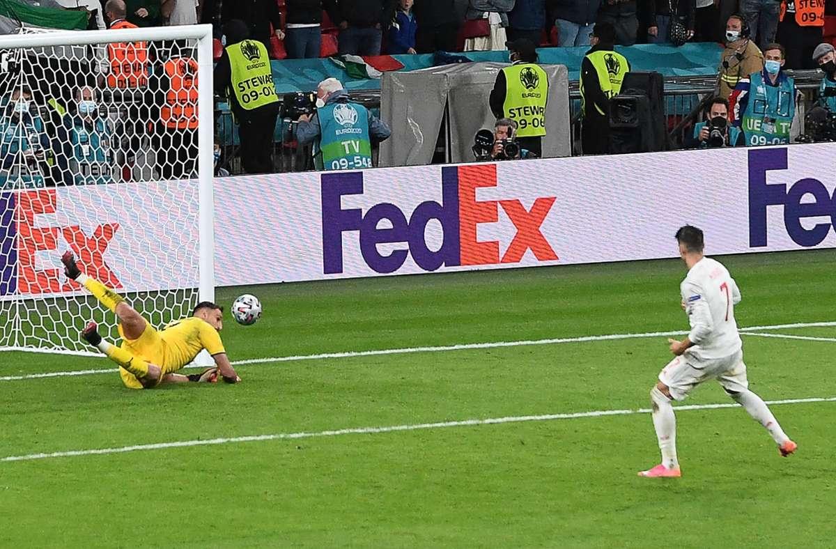 Alvaro Morata scheiterte im Elfmeterschießen an Gianluigi Donnarumma. Foto: AFP/FACUNDO ARRIZABALAGA