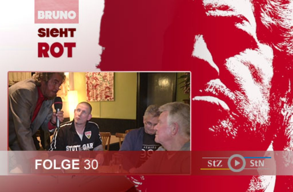 Hier ein paar Eindrücke von den Dreharbeiten zur 30. Folge von Bruno sieht rot in der Gaststätte Rat-Rat in Stuttgart-West. Einige VfB-Fans verfolgten auf einer Leinwand die Bundesligapartie beim FC Augsburg. Foto: SIR