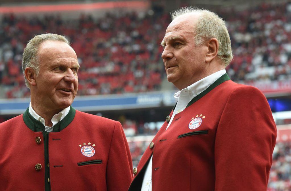 Mia san Mia: die Bayern-Bosse Karl-Heinz Rummenigge und Uli Hoeneß Foto: AFP