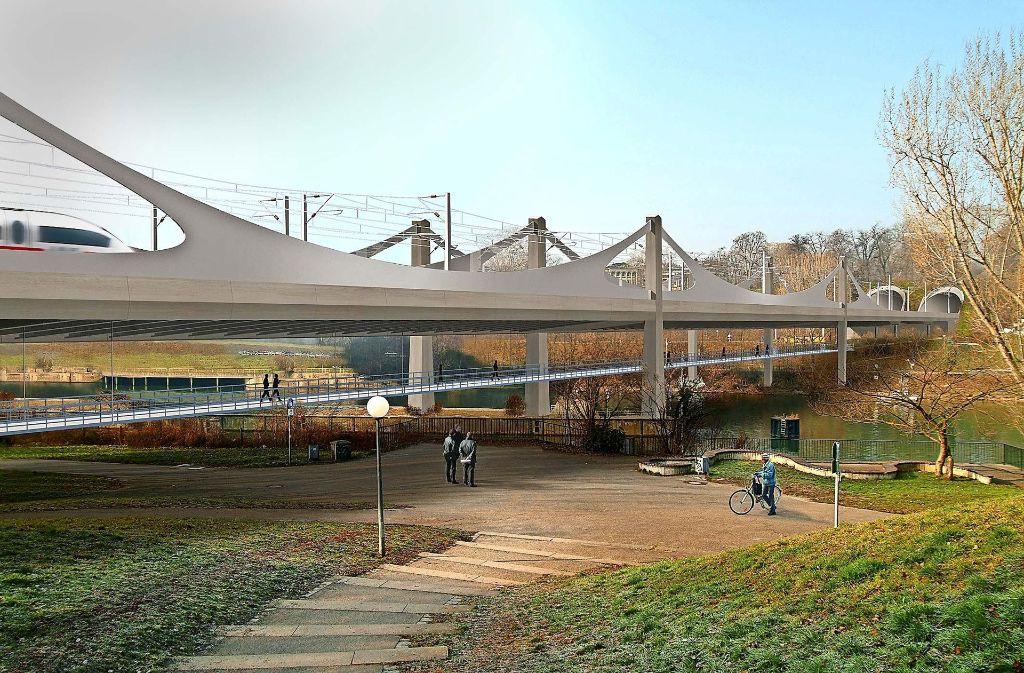 Die Konstruktion der Neckarbrücke  als Mischung aus Schrägseil- und Trogbrücke ist  weltweit bisher einmalig. Foto: