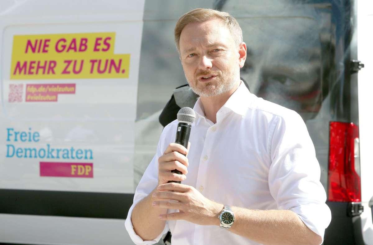 FDP-Spitzenkandidat Christian Lindner, hier bei einem Wahlkampfauftritt in Hamburg am 14. September. Foto: PublicAd/Mirko Hannemann