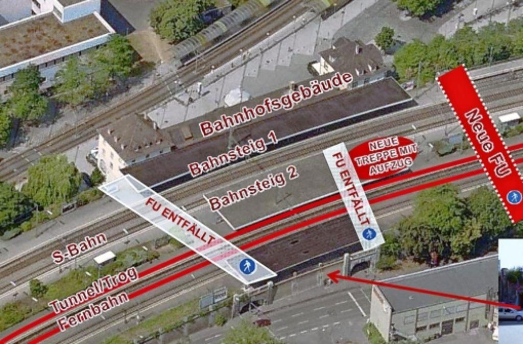 Eine Fußgängerunterführung (FU) wird am Feuerbacher Bahnhof gebaut, zwei bestehende Unterführungen entfallen. Foto: DB-Bahnprojekt