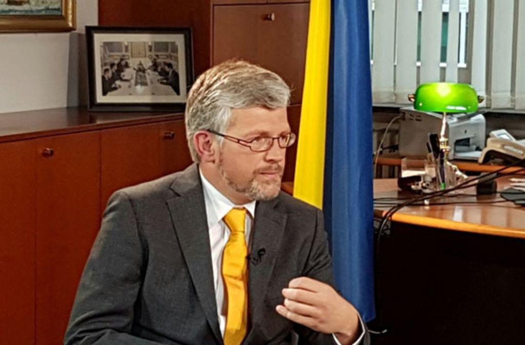Will schärfere Sabktionen gegen Moskau: Der ukrainische Botschafter in Berlin, Andrij Melnyk. Foto: Ukrainische Botschaft