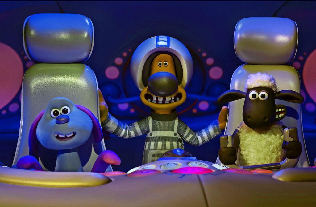 Das Alien Lu-La, der Hofhund Bitzer und Shaun das Schaf Foto: Aardman Animations/Studiocanal