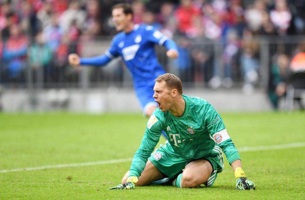 Frust bei der Bayern: Manuel Neuer schreit seine Vorderleute nach dem Gegentreffer der Hoffenheimer zum 0:1 an. Foto: dpa/Tobias Hase