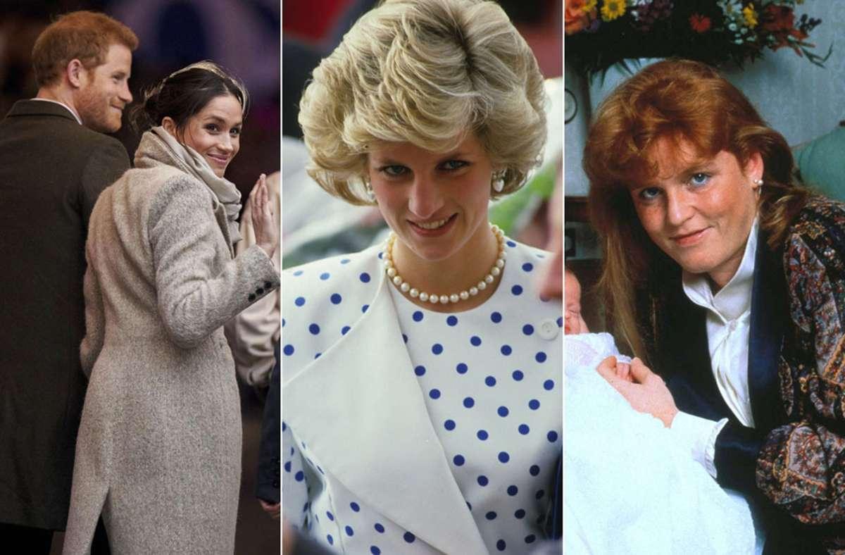 """""""Messy Bun"""", Föhnwelle, 80er-Pony: Herzogin Meghan, Prinzessin Diana und Fergie, die Herzogin von York (von links) Foto: Imago/Zuma Wire/John Shelley Collection/PA Images"""