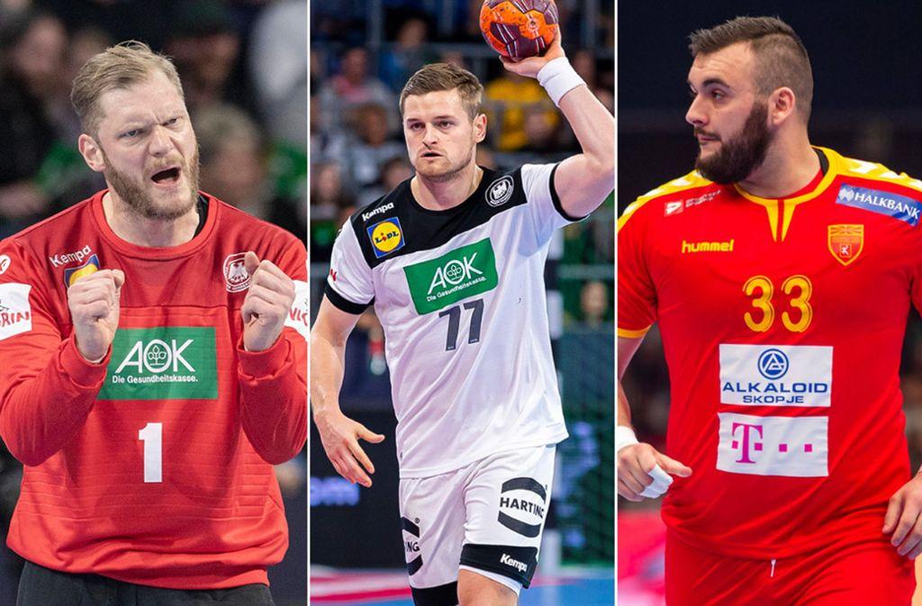 Handballer des TVB Stuttgart bei der EM: Johannes Bitter, David Schmidt und Zarko Pesevski (v.l.n.r.) Foto: imago/Sven Simon/wolf-sportfoto/GEPA
