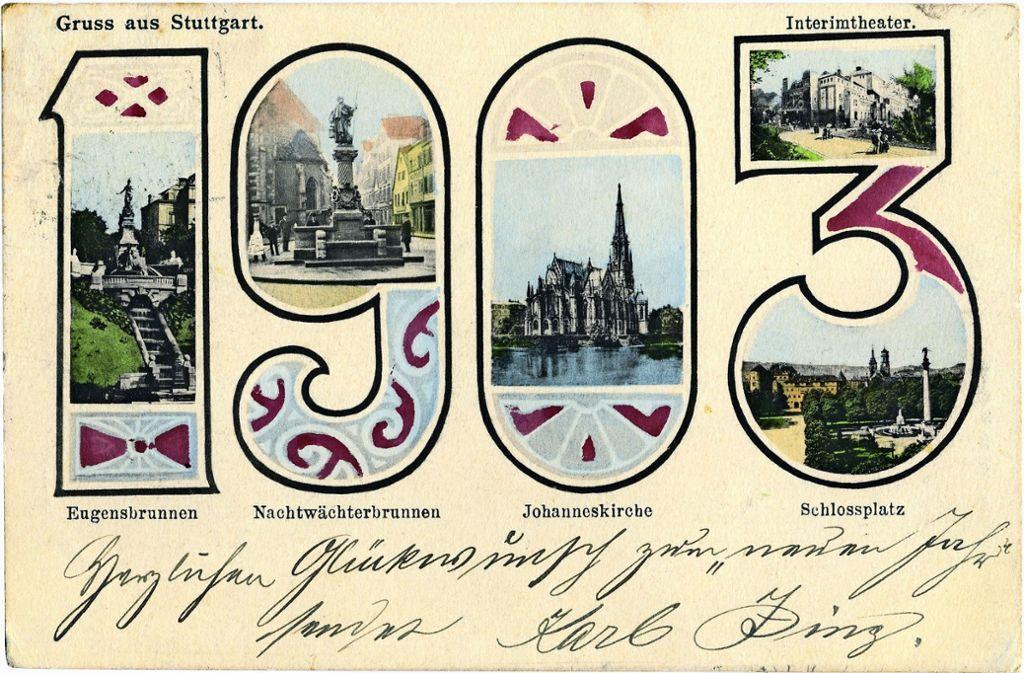 Vom Eugensbrunnen bis zum Interimstheater: Die  Neujahrskarte  für 1903 zeigt  Stuttgarts   Sehenswürdigkeiten der damaligen Zeit. Foto: Sammlung Wolfgang Müller