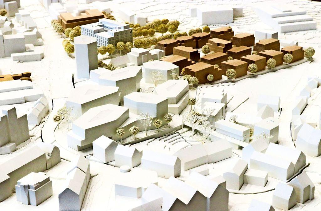 Das Sieger-Modell  für das  Postareal – dahinter das neue Rathaus  und die Bebauung   des Layher-Geländes    (in braun). Foto: factum/Granville