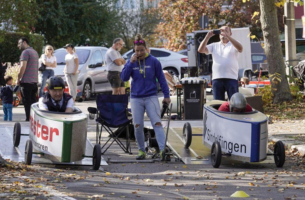 Frank Hofmeister und Armin Braun aus Nürnberg den Reigen der Rennläufe auf der Goldmühlestraße. Foto: factum/Jürgen Bach