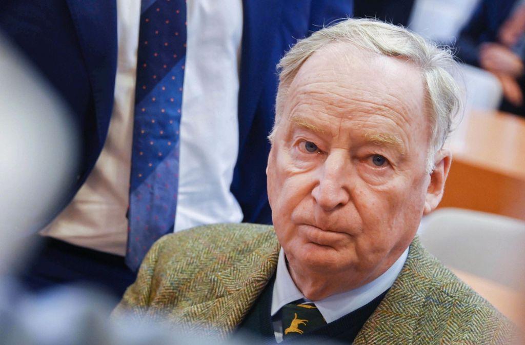 Andreas Kalbitz Ziehvater Alexander Gauland rät zu Geduld. Foto: dpa/Uli Deck